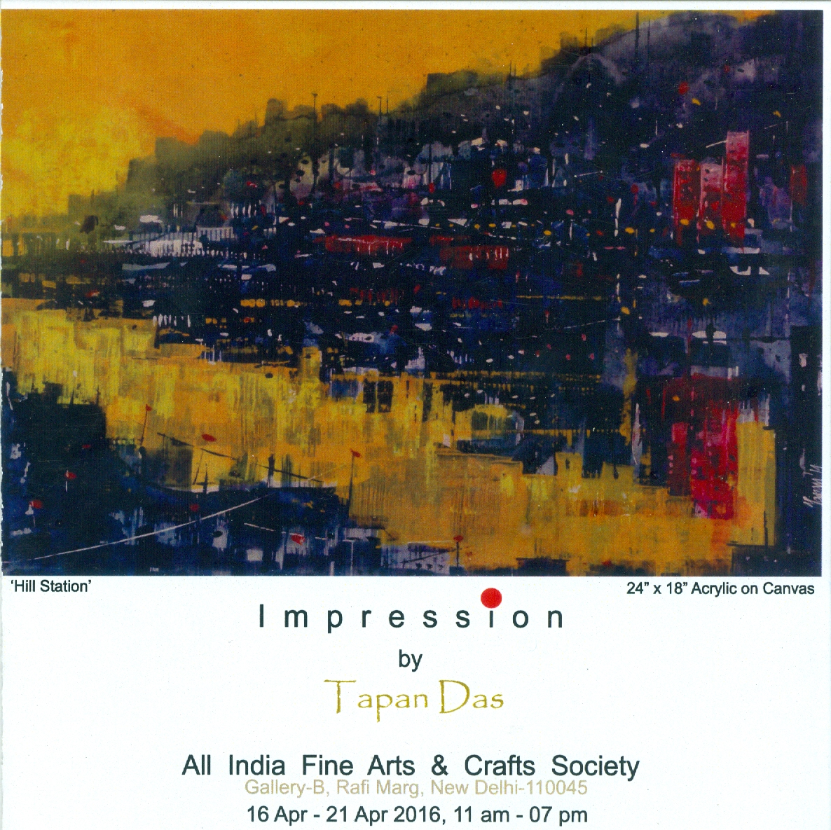 Impression, solo show by Tapan Das at AIFACS, 16 April 2016