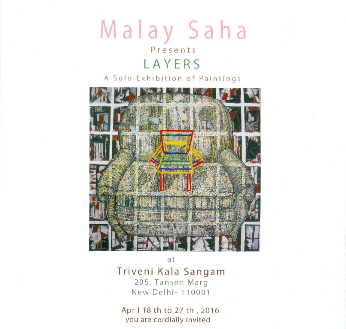 Layers, solo show by Malaya Saha at Triveni Kala Sangam, 18 April 2016